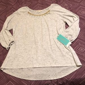 Other - Girl's Knit Top with Beaded Trim, NWT, Large